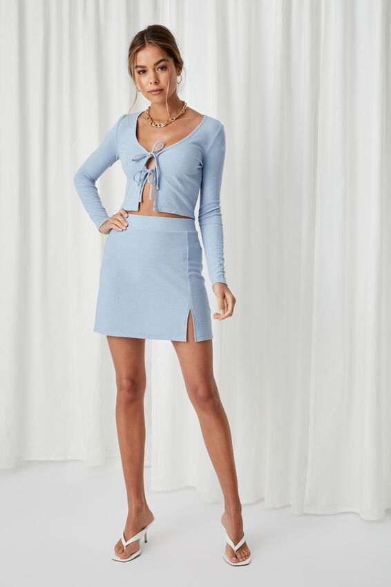 April Tie Front Top Co Ord, LEISURE BLUE