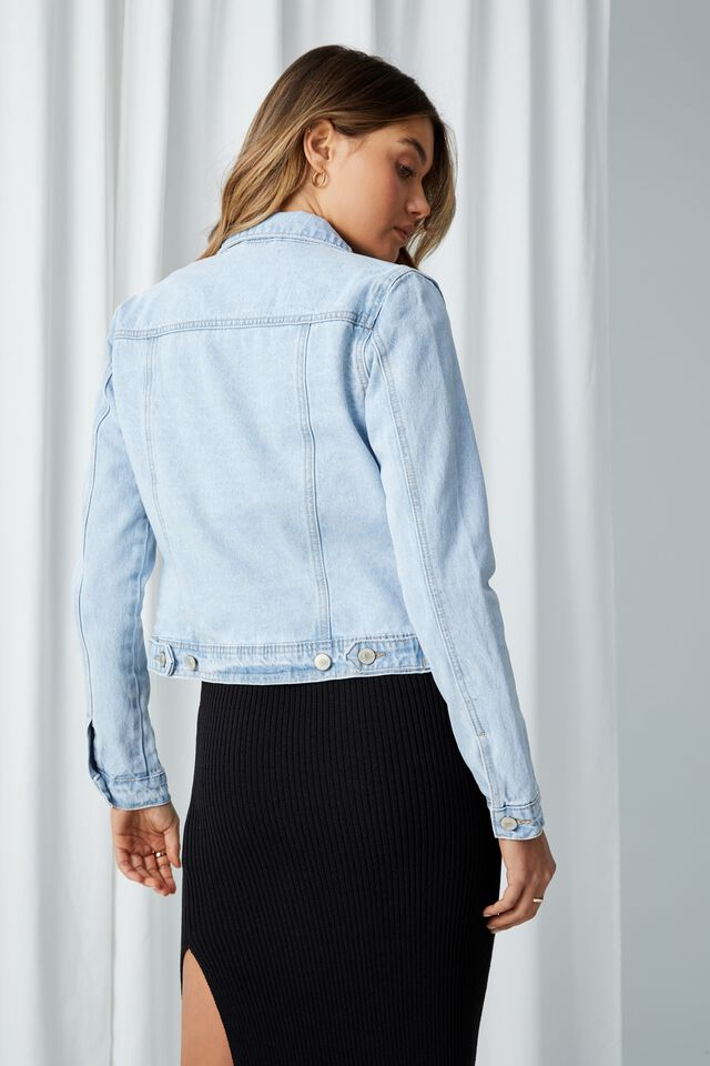 Casual Fitted Denim Jacket, GYPSY BLUE FADE