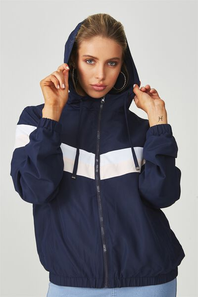 Panelled Windbreaker Jacket, NAVY PINK