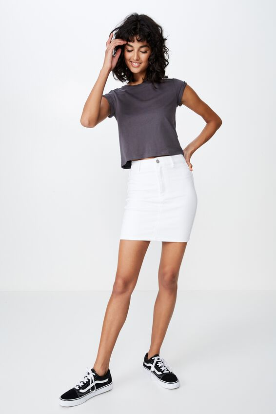 Chloe Stretch Denim Mini Skirt, WHITE