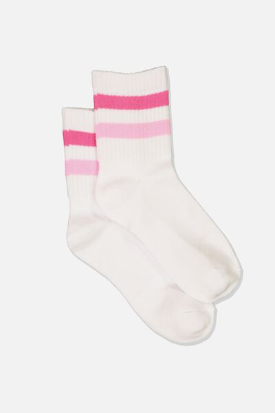 Ombre Stripe 90S Crew Socks, WHITE/PINK