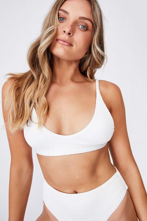 Hilton Plunge Bikini Top, WHITE/SHIRRED