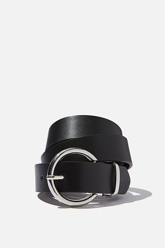 Large Circle Belt, BLACK/SHINY SILVER