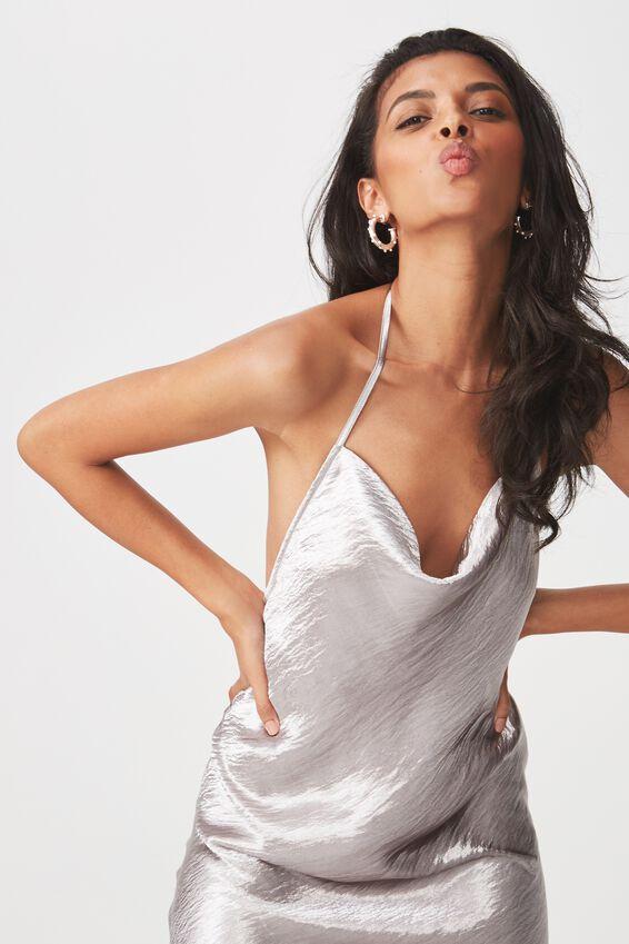 Cowl Neck Satin Party Dress, SILVER