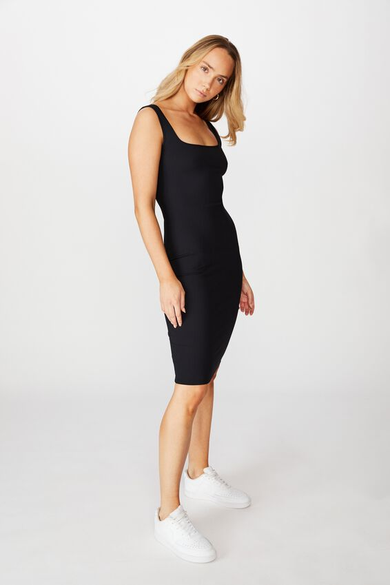 Square Neck Midi Dress, BLACK