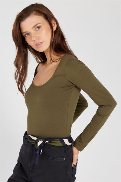 Basic Long Sleeve Scoop Neck Top, OLIVE NIGHT