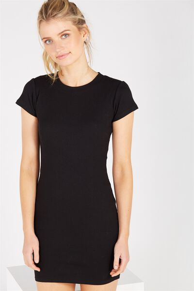 Rib T-Shirt Mini Dress, BLACK