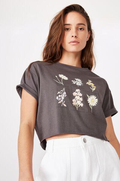 Tamara Graphic Crop Tee, GRANITE GREY/FLOWER TYPES