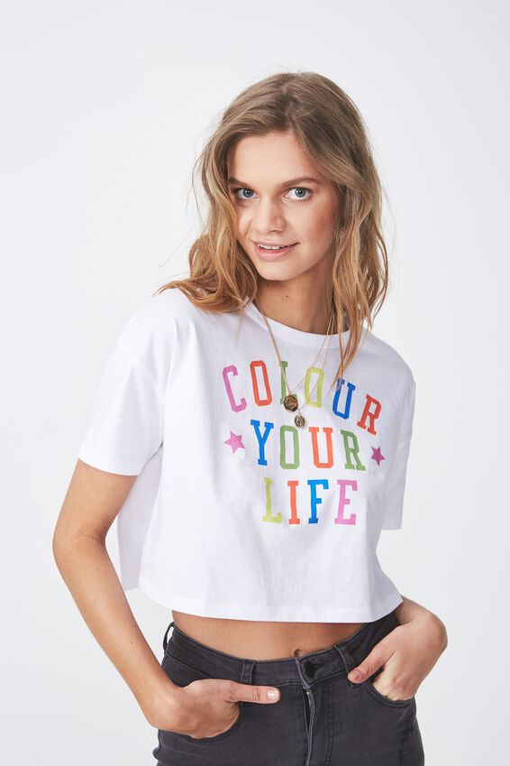 Printed Loose Crop Tee, WHITE/COLOUR