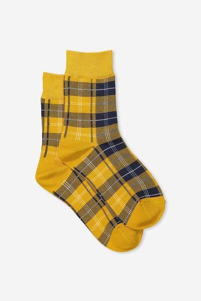 90S Check Socks, MUSTARD HERITAGE