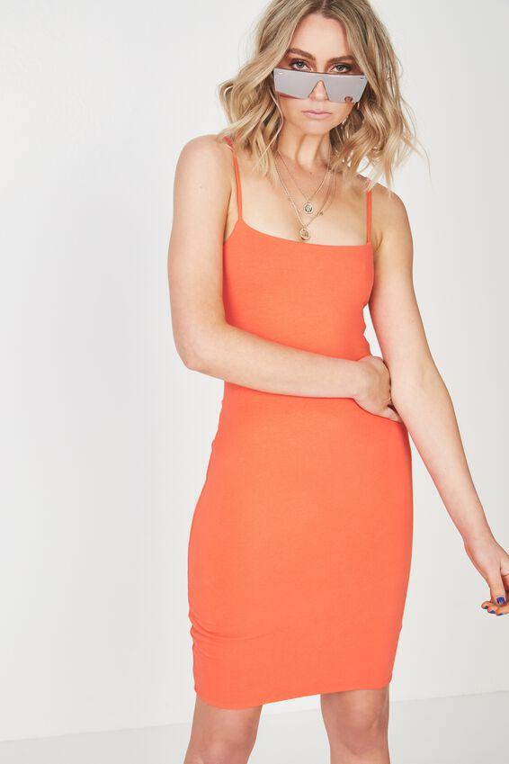 Square Neck Mini Dress, TANGERINE