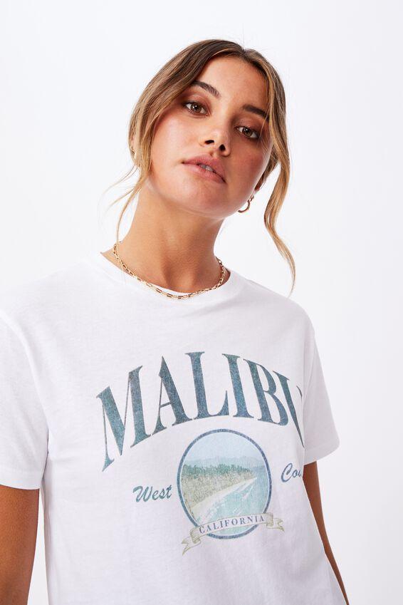 Lola Printed Longline T Shirt, WHITE/MALIBU