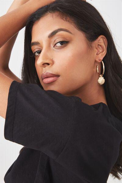 Shell Earrings, GOLD SHELL