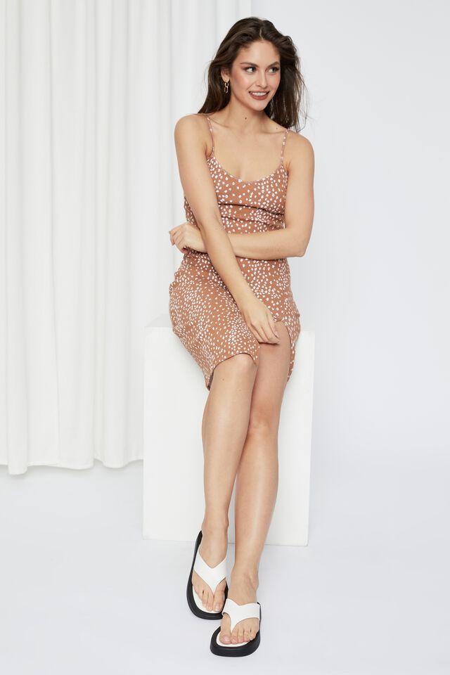 Gemma Split Midi Dress, NYLA CARAMEL
