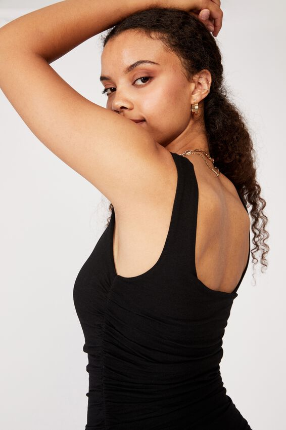 Avah Ruched Mini Dress, BLACK