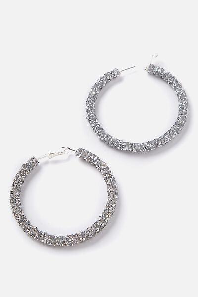 Diamonte Hoop Earrings, SILVER