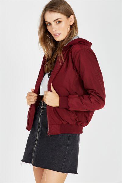Jersey Hooded Bomber Jacket, BURGUNDY