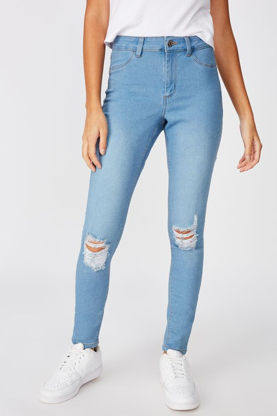 Super Skinny Ripped Jean, WAVE BLUE