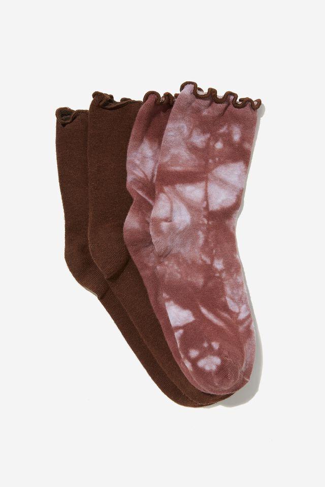 2 Pack Socks, CHOCOLATE/CHOCOLATE TIE DYE