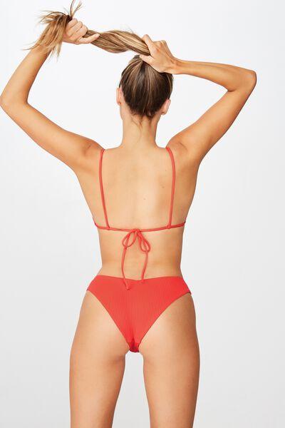 Byron V Front Bikini Bottom, SCARLET RED RIB