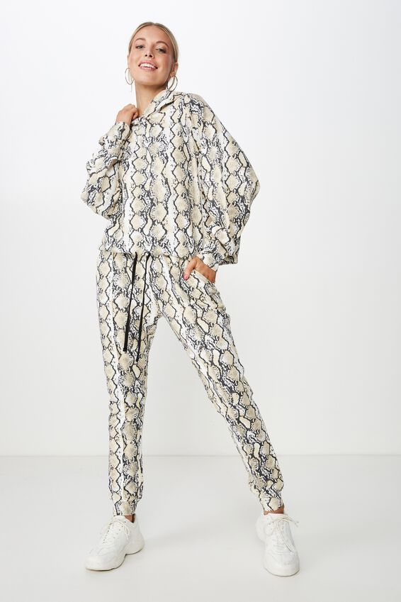Robyn Pin Tuck Sweat Pant, HEATHER PYTHON