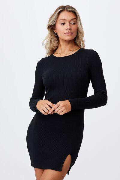 Laila Long Sleeve Mini Dress, BLACK