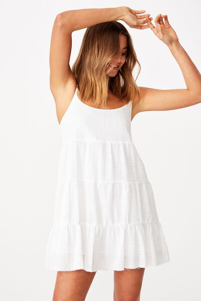 Mila Strappy Tiered Dress, WHITE
