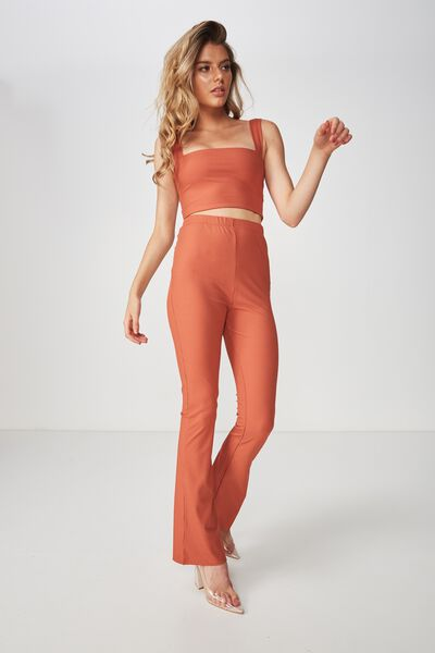 Luxe Set Flared Rib Pant, COPPER