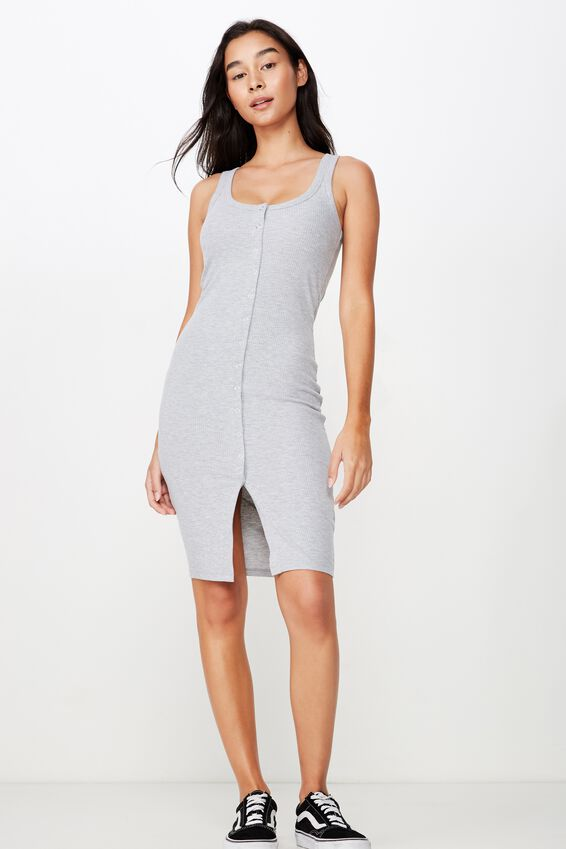 Linda Snap Button Midi Dress, GREY MARLE