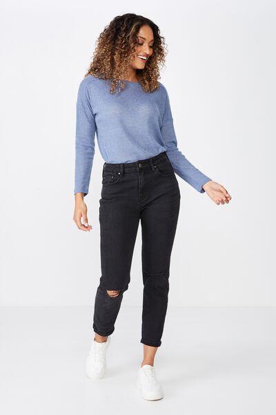 Naomi Long Sleeve Light Weight Top, JEAN BLUE