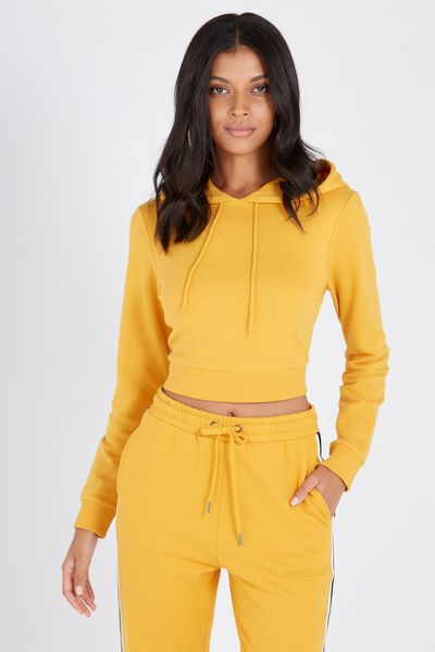 Graphic Cropped Hoodie, MUSTARD