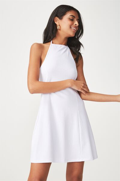 Rib Halter Flare Dress, WHITE