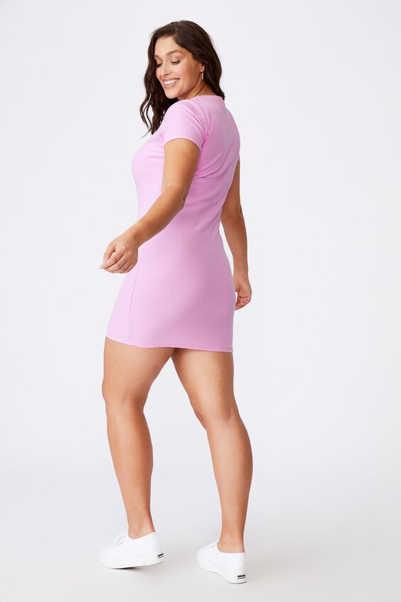 Lucia Rib Tee Mini Dress, MAGIC PINK