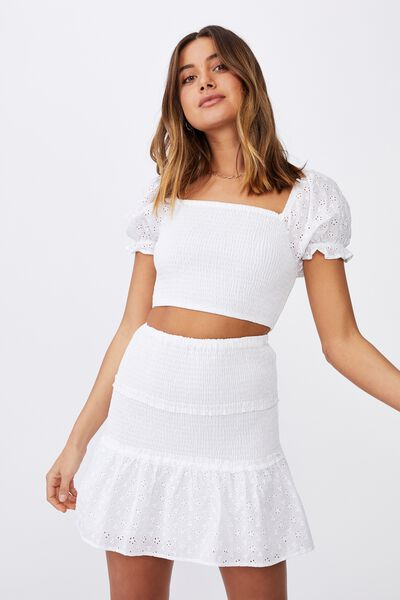 Violet Shirred Frill Hem Skirt, WHITE