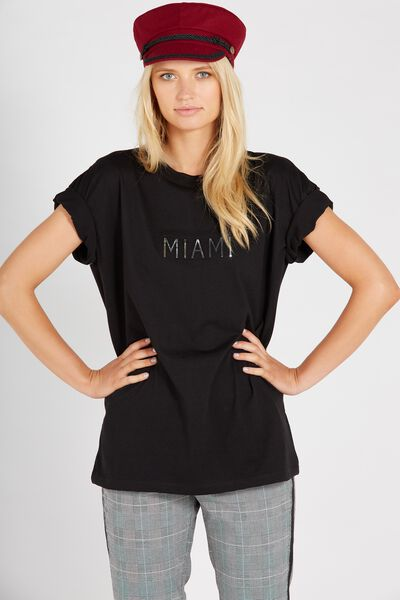 Printed Loose Tee, BLACK/MIAMI