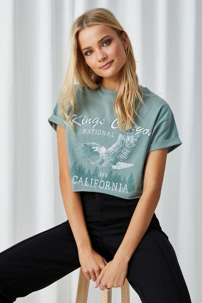 Tamara Printed Crop T Shirt, ICEBERG GREEN/KINGS CANYON EAGLE