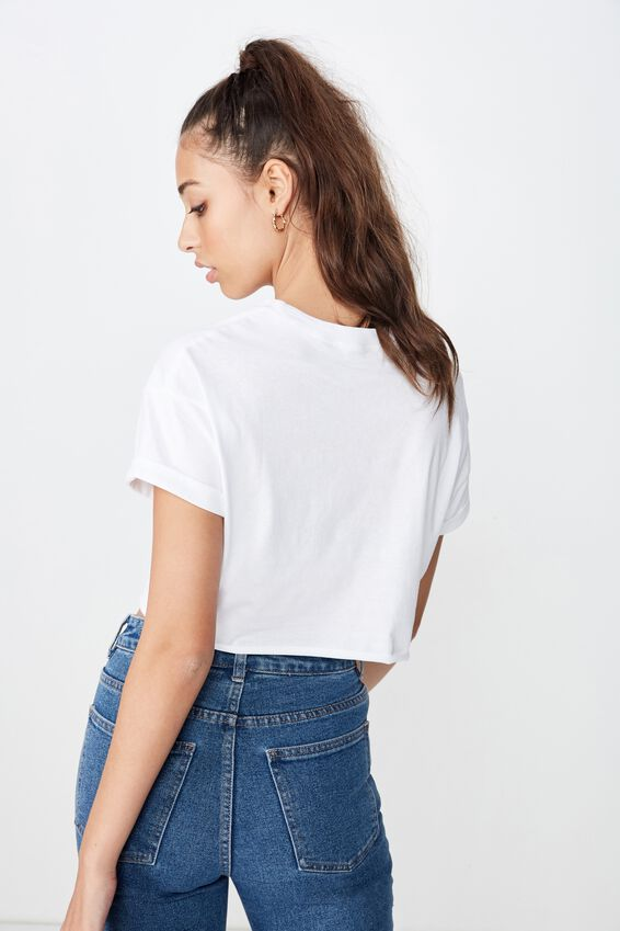 Ciara Crop Tee, WHITE