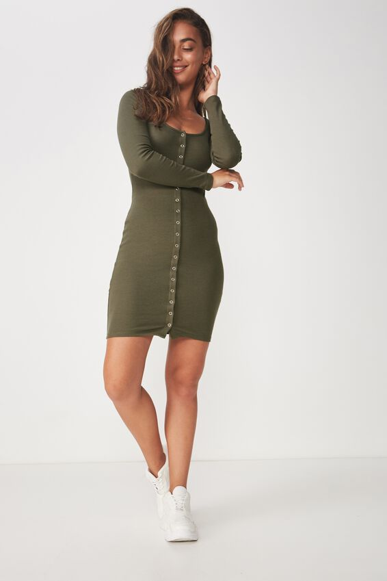 Snap Button Front Long Sleeve Dress, GUM LEAF KHAKI