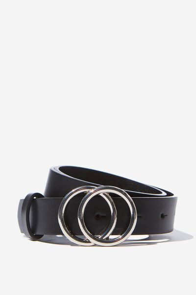 Double Hoop Belt, BLACK/SILVER