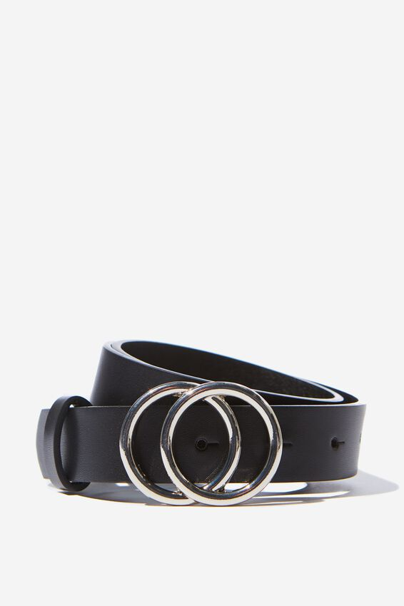 Double Hoop Belt, BLACK SILVER