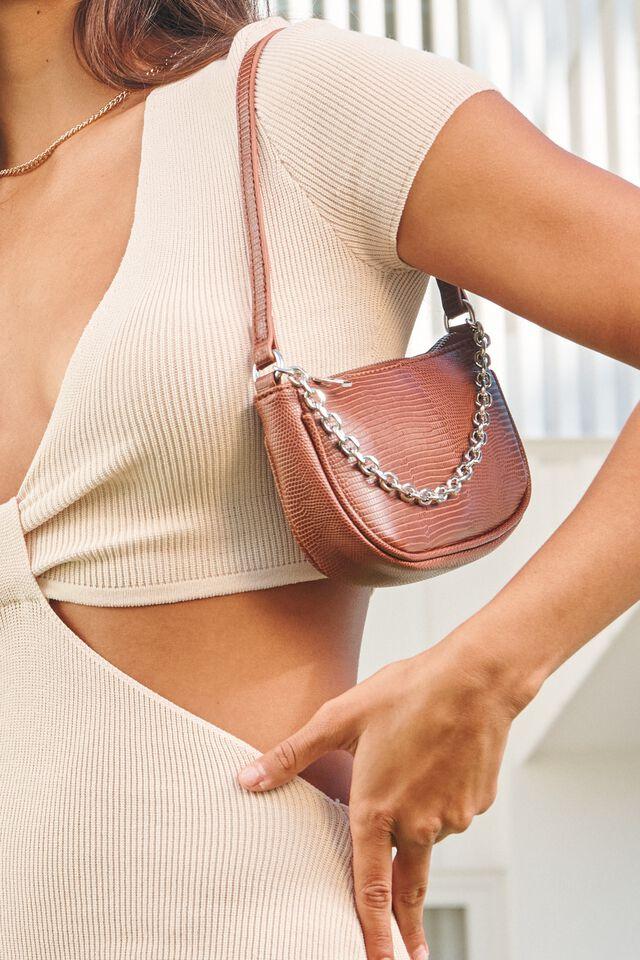 Abbey Chain Textured Shoulder Bag, CHOCOLATE LIZARD