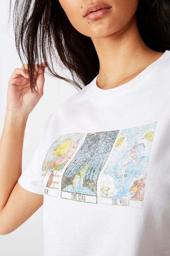 Sun Star World Tee, WHITE/TRIPLE TAROT CARDS