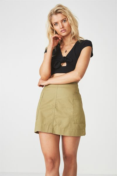 Side Pocket Mini Skirt, JUNGLE GREEN