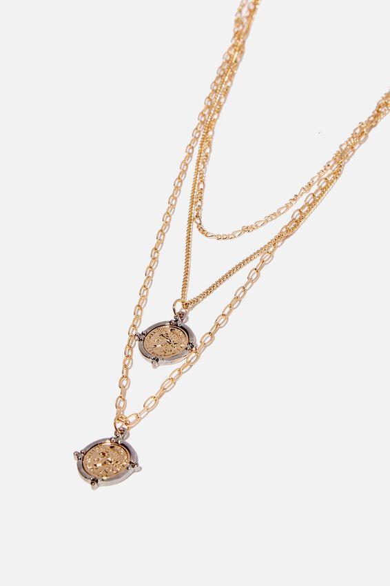 Deco Chain Necklace, GOLD/SILVER