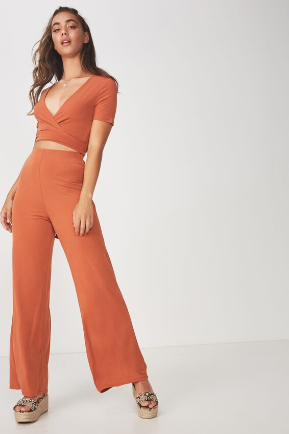 Party Set High Waist Wide Leg Pant, COPPER