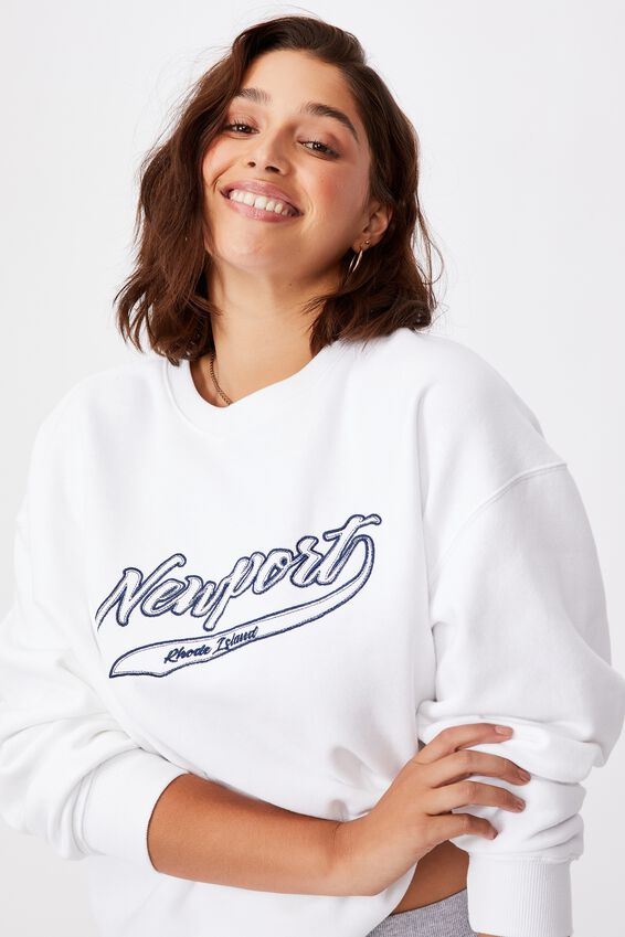 Tonya Oversized Crew Jumper, WHITE/NEWPORT SCRIPT