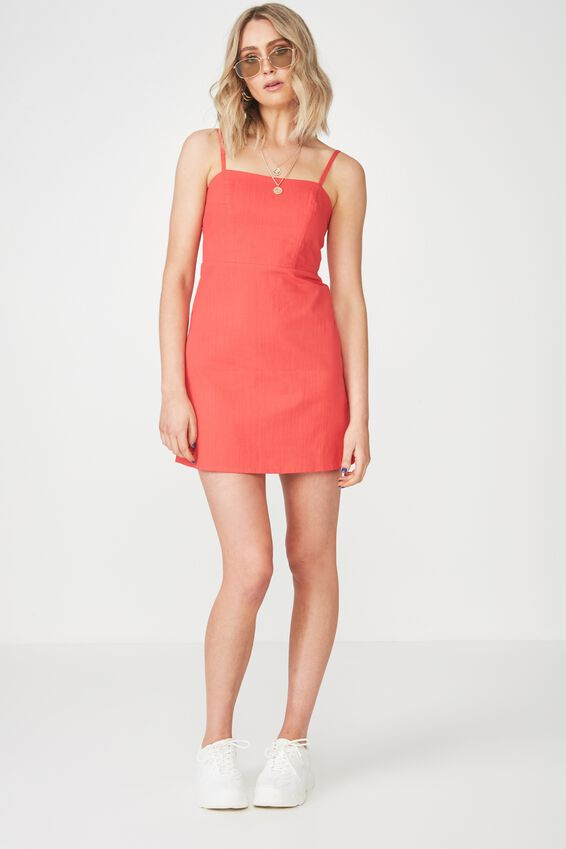 Basic 90s Fitted Cami Dress, TOMATO
