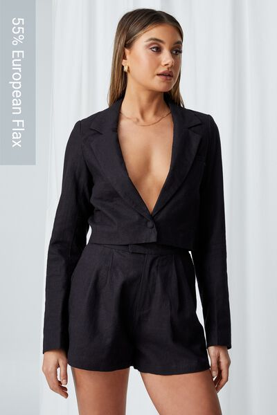 Cece Cropped Blazer, BLACK