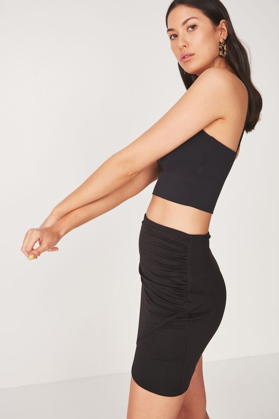Party Wrap Mini Skirt, BLACK