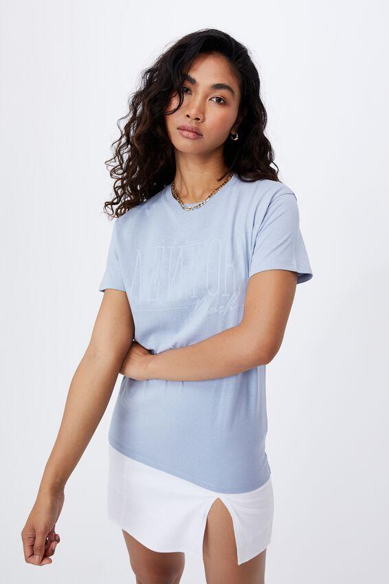Lola Printed Longline T Shirt, LEISURE BLUE/NEWPORT BEACH